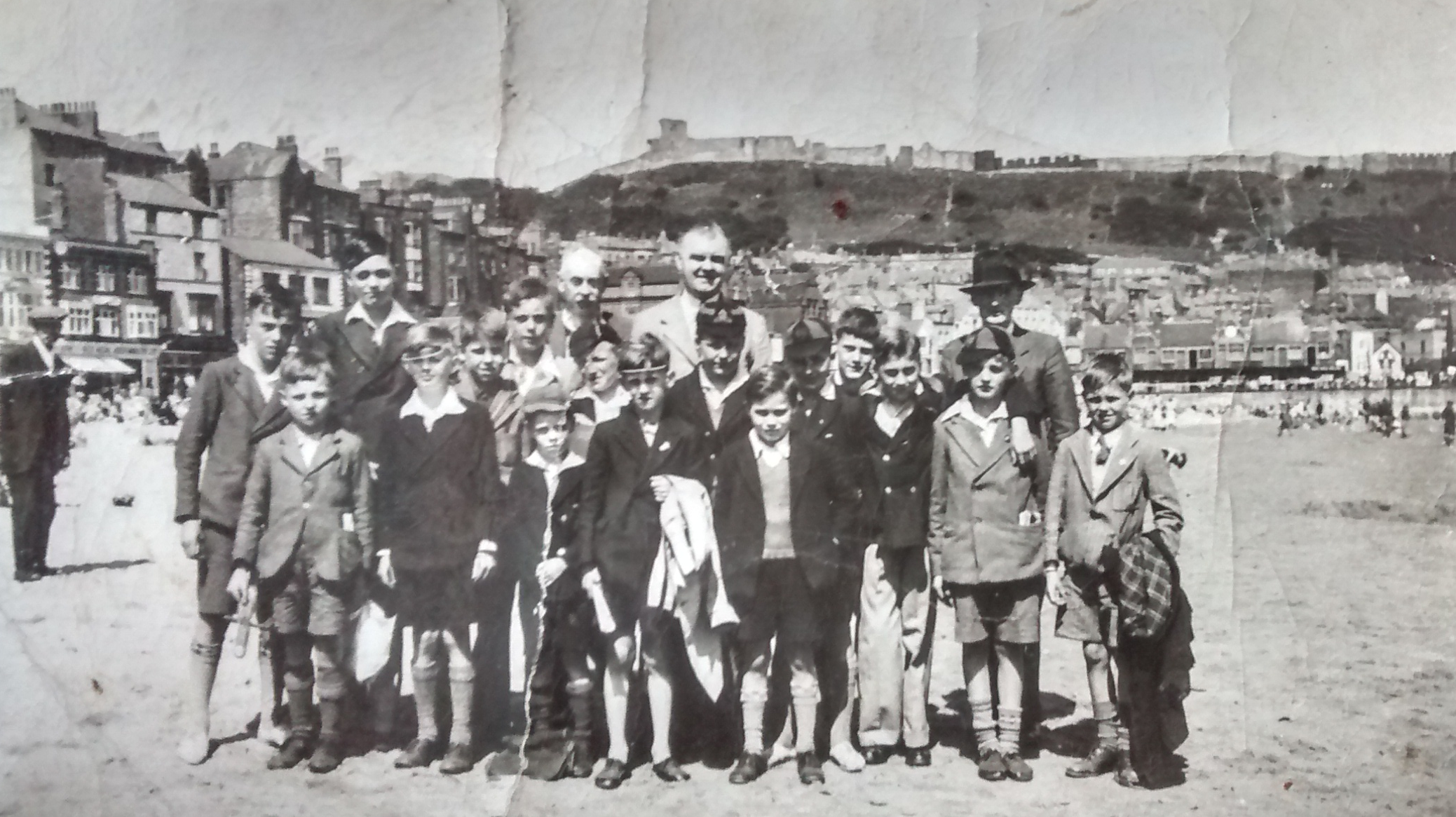 Holy Trinity Church, Heworth. Photograph of the choristers on an outing to the Yorkshire Coast c. 1935. Edmund Stanley Walton (organist) is shown.