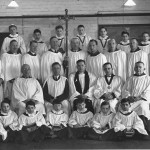 St Edward-the-Confessor Church, Dringhouses. Choir photograph from c. 1943. Edward Prangell (organist) is shown.