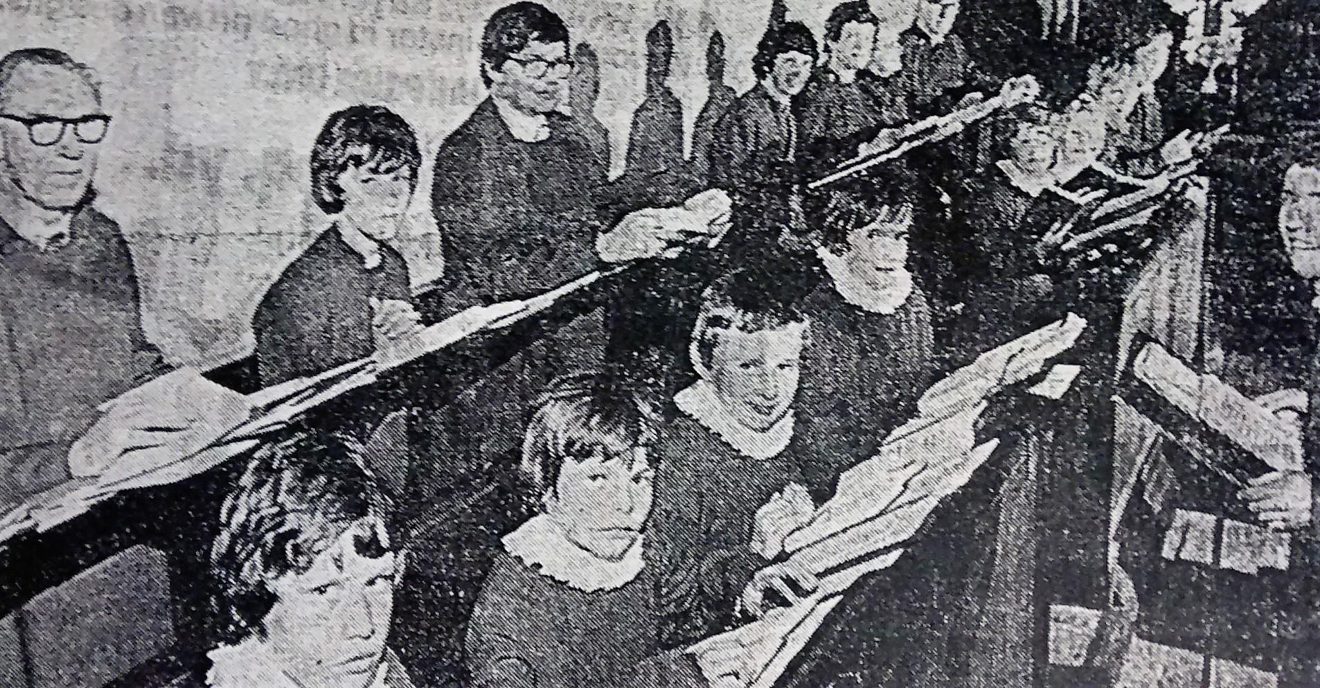St Helen's Church. Choir photograph taken at an unknown point in the later twentieth century. Steven Aston (organist) is shown.