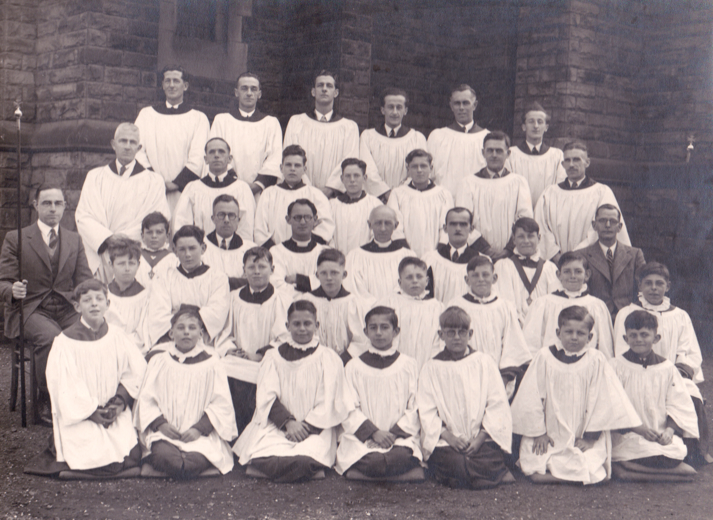 St Lawrence's Church. Choir photograph. George James Stacey (organist) and Mac Milner (choirmaster) are shown.